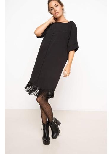 DeFacto Püsküllü Elbise Siyah